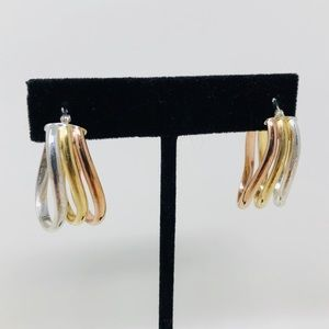 Jewelry - Tri-colored sterling silver earrings, 5.7g